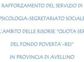 Avviso di selezione personale per l'espletamento del servizio di rafforzamento di psicologia-segretariato sociale